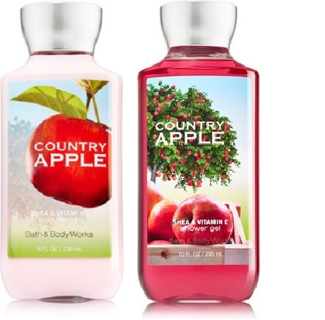 Apple Scented Body Wash - Bath and Body Works Country Apple (1) Body Lotion & (1) Shower Gel Set-Full Size Bottles