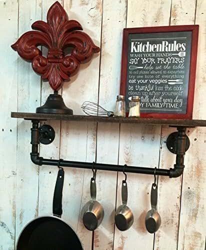 Industrial Kitchen Shelf, Rustic Kitchen Shelves Industrial Shelves, Wall  Hanging, Industrial Décor,
