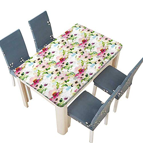 PINAFORE Polyester Tablecloths Season Flowers Leaves Pastel Watercolors Hand Painted Vintage Romantic Pink Purple Green for Indoor and Outdoor Use W25.5 x L65 INCH (Elastic Edge)