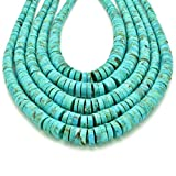 Bluejoy Genuine Natural American Turquoise 3-8mm Graduated Heishi Bead 16-inch Strand for Jewelry Making