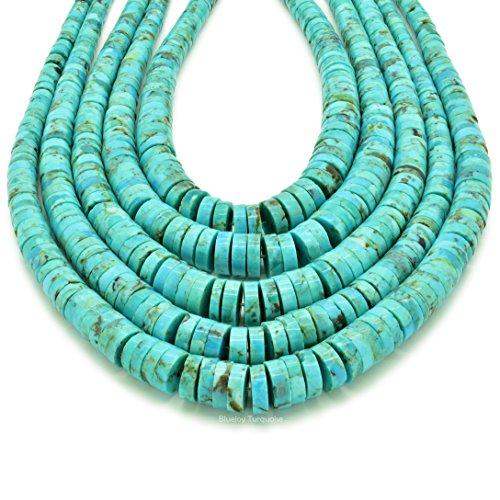 Bluejoy Genuine Natural American Turquoise 3-8mm Graduated Heishi Bead 16-inch Strand for Jewelry Making - Graduated Disc Beads