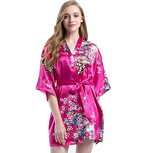 Silk Kimono Dress (Find Dress Women's Satin Wheel and Flower Print Kimono Short Robe DI20006-WheelRose-M)