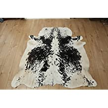 Western Cowhide Rug - Beautiful Black & White Speckled Pattern - Luxurious Cowhide Rug - Approx 157 cm x 147 cm - D49