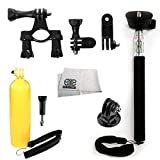 SSE® Accessory Kit for GoPro HERO+, HERO4 Session, HERO4, HERO3+, HERO3 (Black, Silver & White), HERO & HERO+ LCD. Includes Selfie Monopod + Bobber Handle + Thumb Knob Screw + Tripod Adapter + Handlebar Seatpost Mount + 3-Way Pivot Arm Assembly Extension + Microfiber Cleaning Cloth