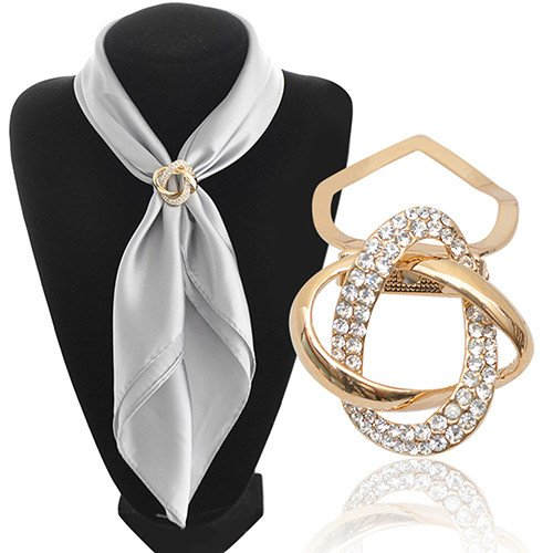 Imagine Store Bluelans Gold-plated Crystal Silk Scarf Clip Buckle Holder Twine Brooch Pins Jewelry - Buckle Silk