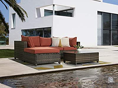 5 Pieces Patio Furniture Sets, Outdoor Sectional Sofa Set Rattan Chair Wicker Conversation Set with Orange Cushion and Glass Table