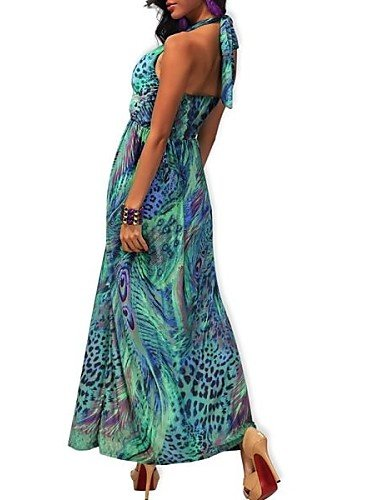 PU&PU Robe Aux femmes Swing Soirée / Décontracté / Plage Licou Maxi Soie / Polyester , green-one-size , green-one-size