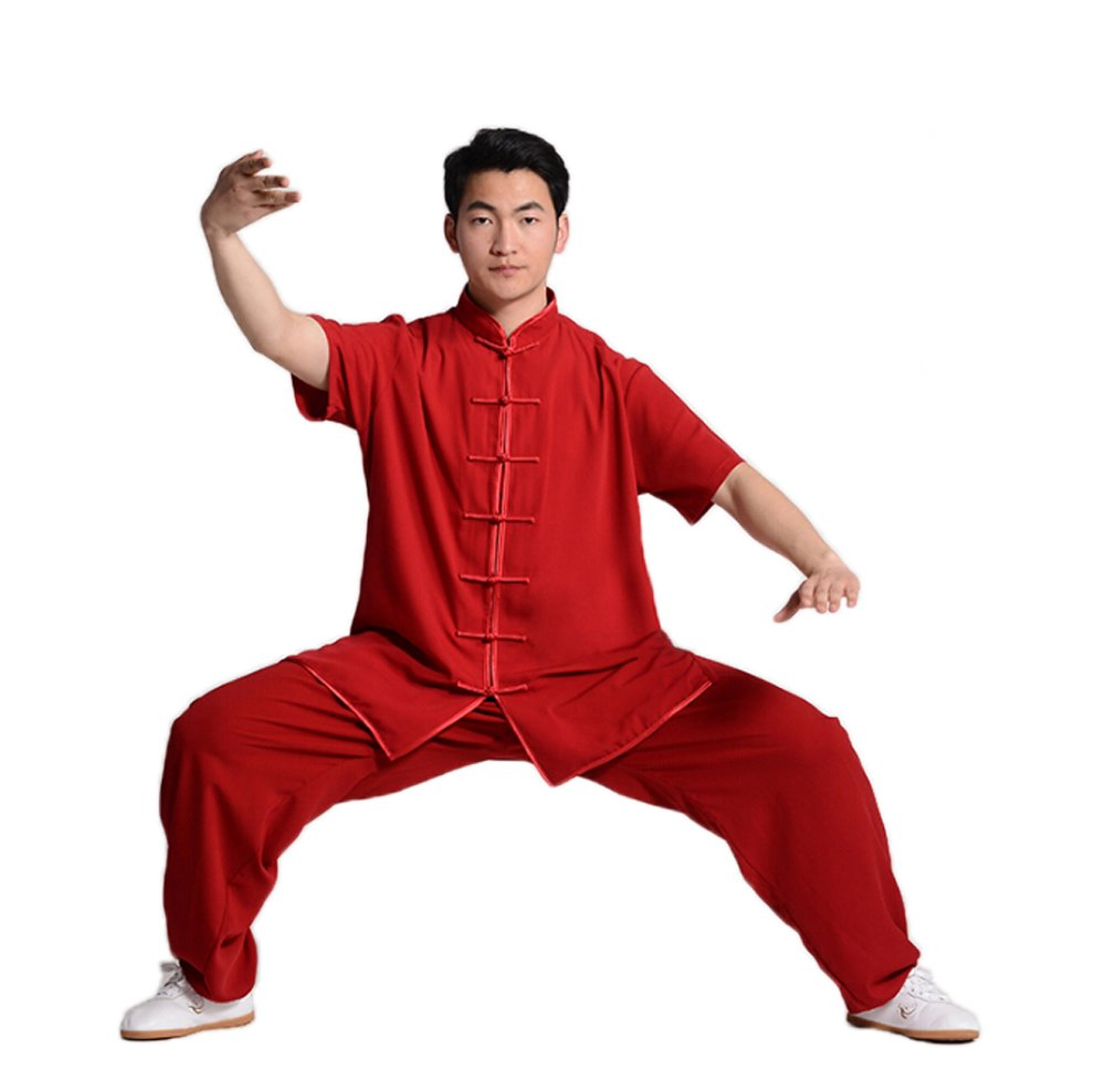 ZooBoo Unisex Short Sleeve Taichi Uniform Summer Kungfu Clothing Cotton Blend Martial Art Sets (S, Wine Red) by ZooBoo