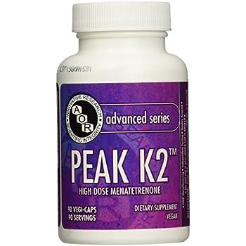 Advanced Orthomolecular Research AOR Peak K2 15 mg Capsules, 90 Count