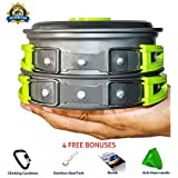CAMPING COOKWARE MESS KIT | Most Complete lightweight equipment set for any camp hiking trips | Free bonuses included | 60 days guarantee | Backpacker cooking gear | pots and pans cook set