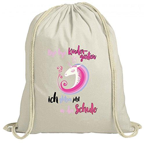 ShirtStreet Einschulungsgeschenk Erstklässler Schulkind natur Turnbeutel Rucksack Gymsac Einhorn Krone - Bye Bye Kindergarten Natur DxkdyIy