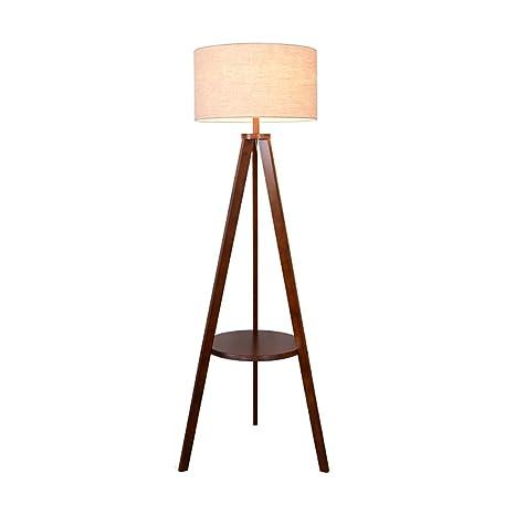 Floor DL Lámparas de pie Lámpara de pie, lámpara de pie de Madera sólida de la Sala de Estar, Piso Creativo de la lámpara de Piso del Estante del ...