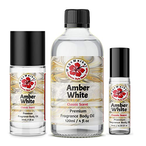 WagsMarket - Amber White Perfume Oil, Choose from 0.33 oz Roll On to 4 oz Glass Bottle, by The Egyptian Musk FactoryTM (0.33oz Roll On)