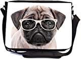UKBK Hipster Pug Dog Puppy with Glasses Messenger Laptop Bag with Pencil Case