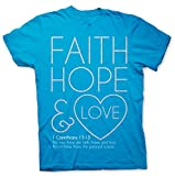 "Christian Simmering glitter and spiritual truth – "" Faith Hope and Love – the greatest of these is LOVE!"" Womens T-Shirt"