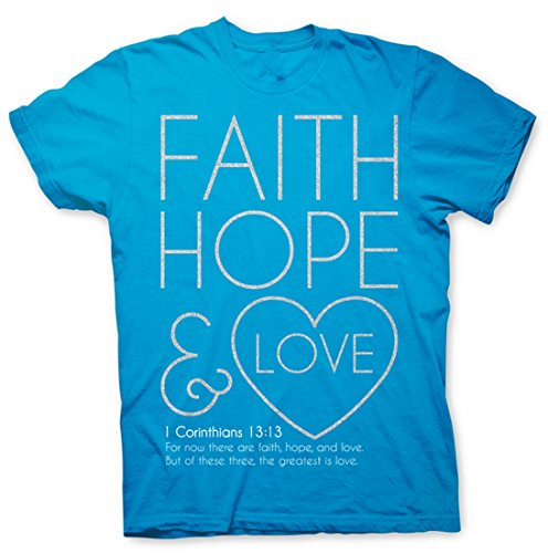 """Christian Simmering glitter and spiritual truth – """" Faith Hope and Love – the greatest of these is LOVE!"""" Womens T-Shirt"""