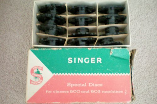 Singer Fashion Discs for Deluxe Zig-Zag Sewing Machines Models 620, 625 and 628. Part No. 21976 in original box with 12 black cams in individual sectioned box. Singer Sewing Machine Special Discs for classes 600 and 603 machines (Singer 600 Sewing Machine compare prices)