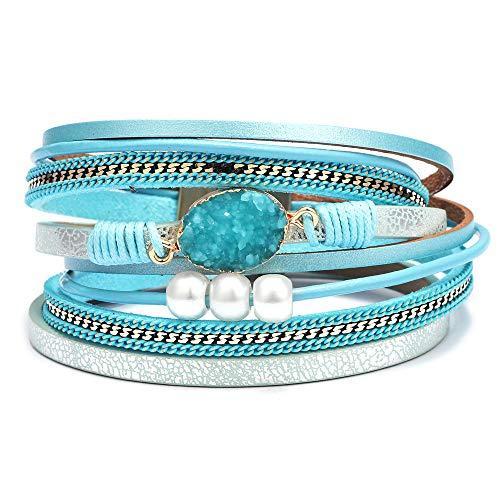 Bangle Leather Blue - AZORA Womens Leather Wrap Bracelet Handmade Pearls Beads Cuff Bangle Bracelets for Women Girls (Blue-druzy Stone)
