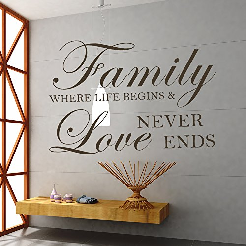 Family Where Life Begins And Love Never Ends - Inspirational Family Wall Decal Quote Home Removable Wall Decor (Black, X Large)