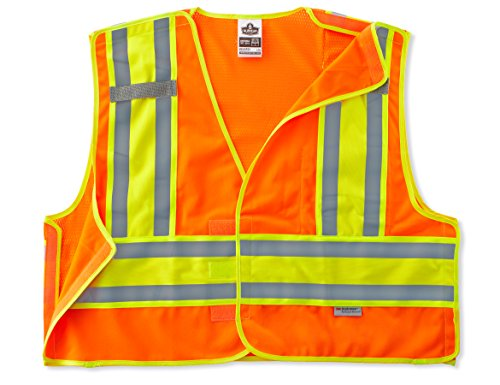 Public Safety Apparel - Ergodyne GloWear 8245PSV ANSI High Visibility Orange Breakaway Public Safety Vest, 6X-Large/7X-Large