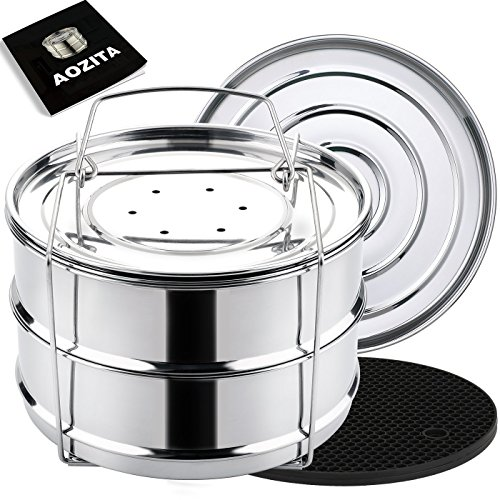 Aozita Stackable Steamer Insert Pans with Sling for Instant Pot Accessories 6/8 qt- Stainless Steel Food Steamer for Pressure Cooker, Baking, Lasagna Pans, Upgrade Interchangeable Lids Included (Pot Stackable)