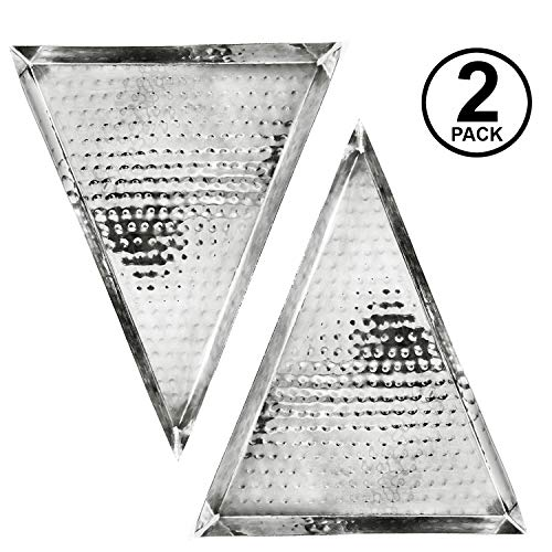 Colleta Home Silver Hammered Trays - Silver Serving Trays and Platters - Appetizer Trays - 2 Pack