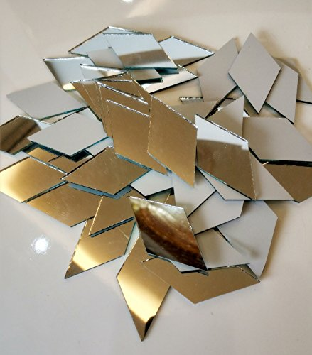 Mosaic Diamond Tile (Set of 100pcs RUIXUAN Diamond Shape Mosaic Tiles Mirror Glass Home Decoration Crafts DIY Accessory (1x2inch))
