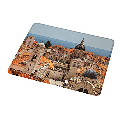 Mouse Pad Custom European,Aerial View on The Old City of Dubrovnik Walls Medieval Croatia European Decor,Personalized Design Non-Slip Rubber Mouse pad 9.8