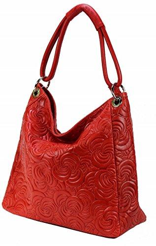 Borsa Bozana Kira Rosso Italia Designer Donna Borsa In Pelle Borsa Scamosciata Shopper Goffratura Nuovo