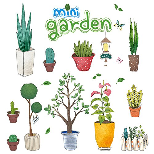 Green Plant Flowerpot Wall Art Stickers Window Decals Decor for Home, Office, Nursery, Kids Room, Coffee Shop, Peel and Stick Waterproof PVC, No Damage No Sticky Marks with Glass Cleaning Cloths