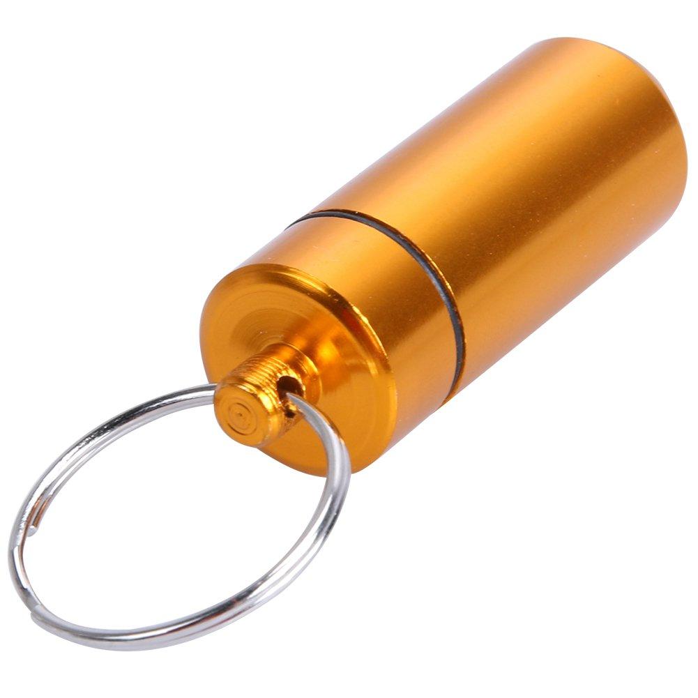 Argento Demiawaking Mini Custodia Impermeabile per Pillole in Lega di Alluminio Portapillole Sigillata Contenitore Scatola della Medicina con Portachiavi