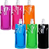 9. Blulu 6 Pieces Collapsible Water Bottle Reusable Drinking Water Bottle with Clip for Biking, Hiking Travel, 6 Colors