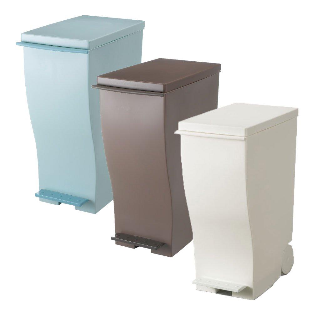 岩谷マテリアル kcud 30 スリムペダル 3個セット ゴミ箱 ごみ箱 ダストボックス おしゃれ ふた付き クード (オールブルーグリーン×オールブラウン×ホワイト) B0742C9T26オールブルーグリーン×オールブラウン×ホワイト