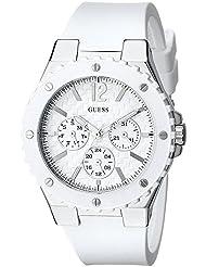 GUESS Womens U10657L1 Carbon-Fiber Inspired White & Silver-Tone Sport Watch
