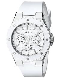GUESS Women's U10657L1 Carbon-Fiber Inspired White & Silver-Tone Sport Watch