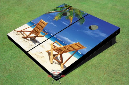 Beach Chairs Facing Each Other Theme Cornhole Boards]()