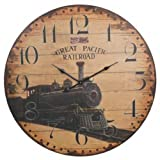 Great Pacific Railroad Extra Large Wall Clock - 23-in