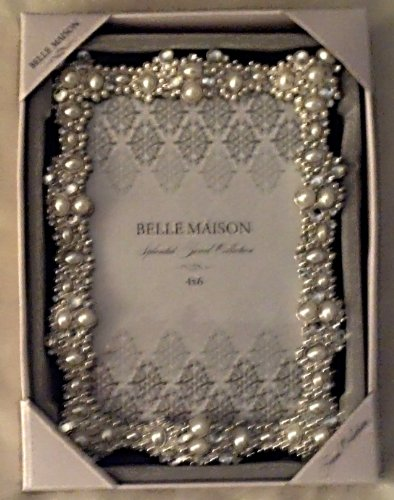 Belle Maison 4x6 Picture Frame Jeweled Pearl and White Stones