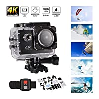 Kreema Ultra HD 4K Action Camera 1080P Wifi Waterproof Sport Cam 170° Wide Angle Underwater Camcoder with Remote Control Waterproof Case and Accessories Kit by Kreema