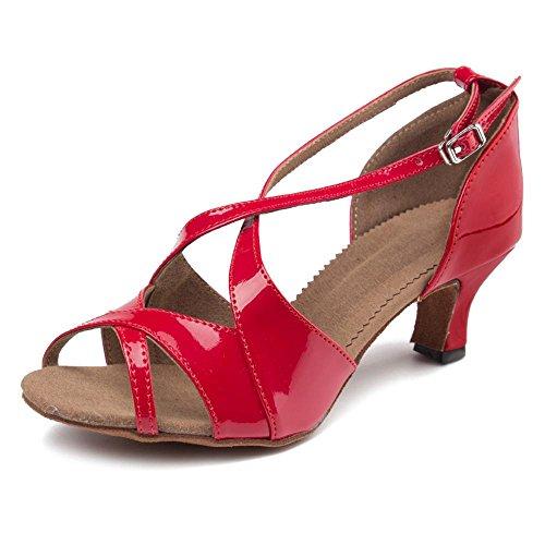 YFF Ballsaal Salsa tango Latin Dance Schuhe Mädchen Frauen 50 mm und 65 mm-Absatz, Schwarz 50 mm, 9