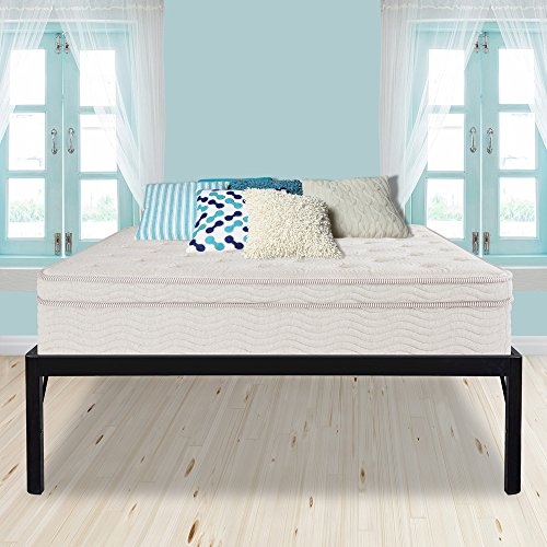 PrimaSleep PR18BF10K 18 Inch High Extra Support/Heavy Duty Steel Slat Bed Frame/Anti-slip/Easy Assembly/Noise Free/No Box Spring Needed King Black