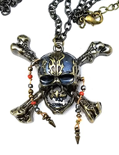 Pirates of the Caribbean, 5, Skull and Cross-Bones Jack Sparrow Necklace Caribbean Skull Bones