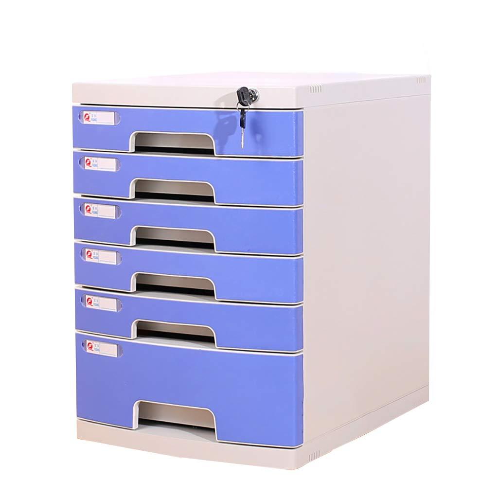 ファイルキャビネットプラスチックデスクトップロッカーファイルボックス4/5/6/7フロアロック付き引き出しタイプグレーブルー (色 : A, サイズ さいず : 6layers) B07MKR9Q8M A