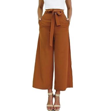 Pantalon Large Jambe Femme Taille Haute - Sunenjoy Pantalon Palazzo Fluide  Evasé Chic Élégante Baggy Décontracté 2cd67453b03