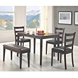 country kitchen table with bench Coaster 5pc Dining Table, Chairs & Bench Set Cappuccino Finish