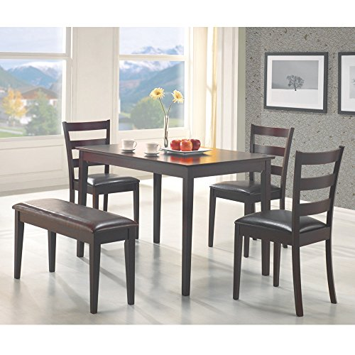 Coaster 5pc Dining Table, Chairs & Bench Set Cappuccino Finish - Dinette Sets Dining Room Furniture