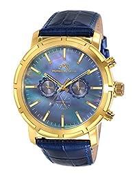 Porsamo Bleu NYC Genuine Leather Gold Tone & Blue Men's Watch 056BNYL