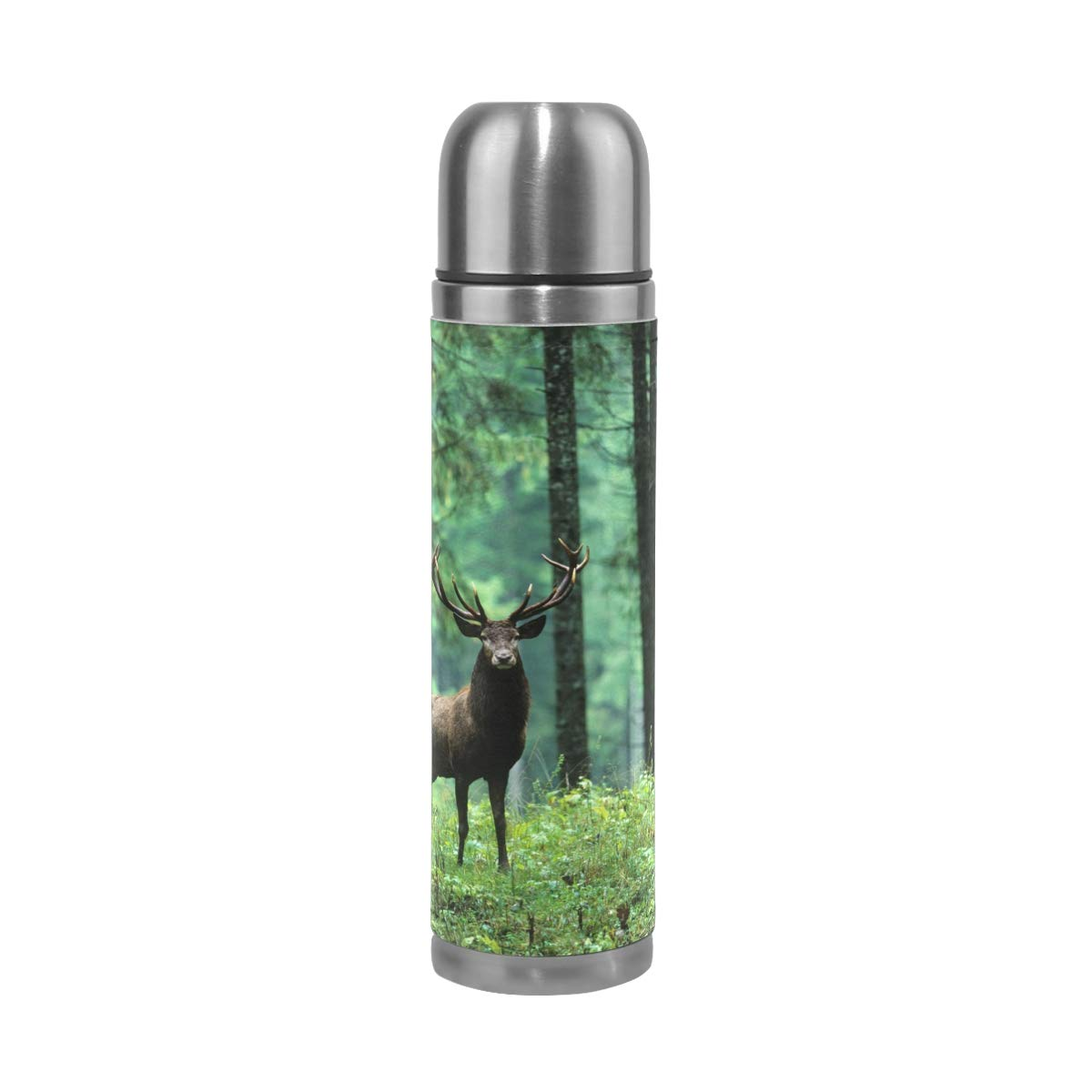 Double Wall Vacuum Insulated Stainless Steel Water Bottle Elk in Forest Sunset Palm Trees Leak Proof Sports Coffee Maker Bottle