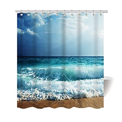 Gwein Summer Beautiful Beach Shower Curtain Polyester Fabric Mildew Proof Waterproof Cloth Room Decor