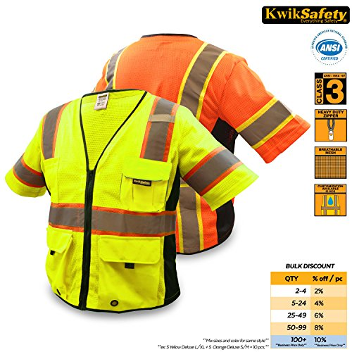 KwikSafety EXECUTIVE | Class 3 Safety Vest | 360° High Visibility Reflective ANSI Compliant Work Wear | Hi Vis Breathable Mesh Multiple Pockets | Men & Women Regular to Oversized Fit | Yellow L/XL
